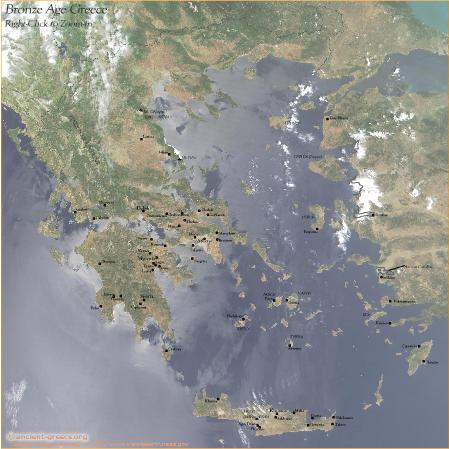 Map of the Bronze Age of Greece